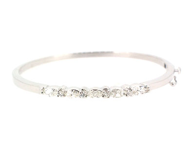 Bangle with diamond in 14K WHITE GOLD - 1037JNBD