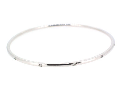 Bangle with diamond in 14K WHITE GOLD - 1043JNBD