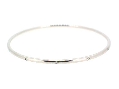 Bangle with diamond in 14K WHITE GOLD - 1045JNBD